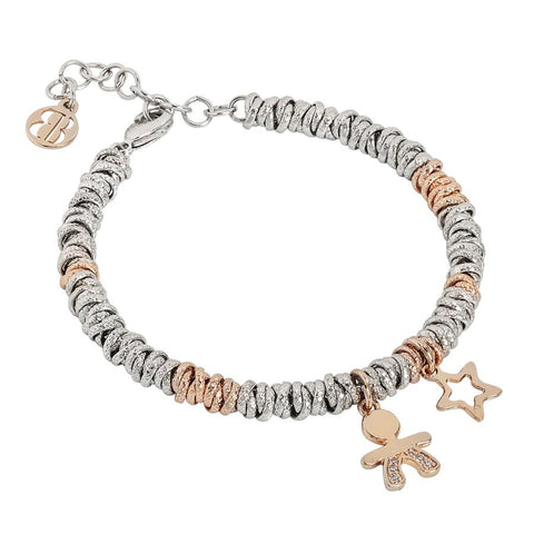 Bracelet bicolor with baby zirconate and star rosasti