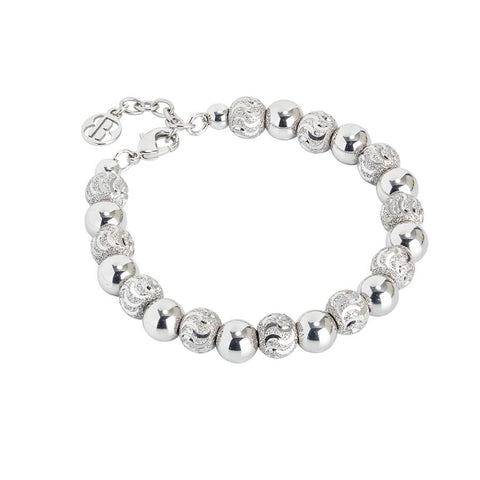 Bracelet with pearls rhodium-plated diamond and the effect to wave