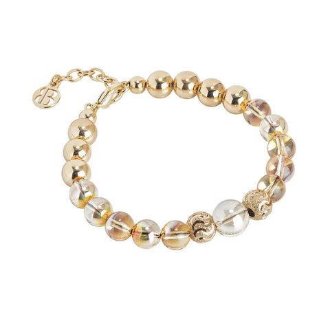 Golden Bracelet with Swarovski beads metallic sunshine