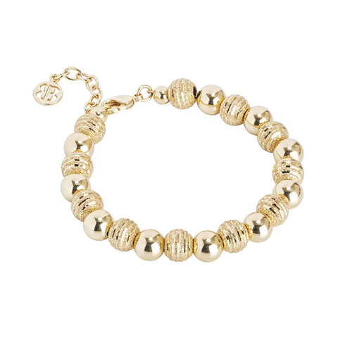 Golden Bracelet with smooth Pearls and Diamond