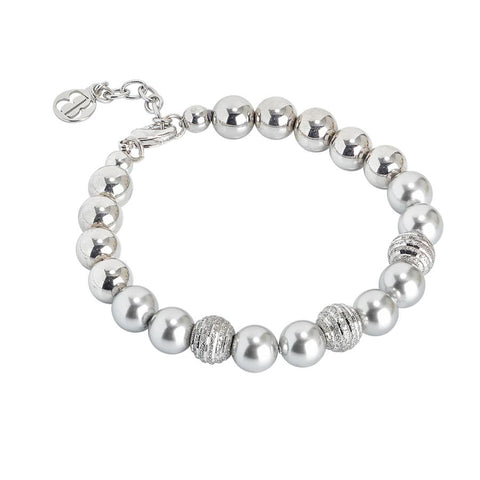 Bracelet with Swarovski beads light gray and diamond