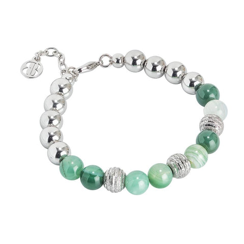 Bracelet rodiatos with agata mix green