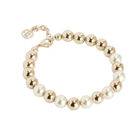 Golden Bracelet with Swarovski beads light gold and smooth balls