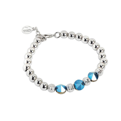 Bracelet with Swarovski crystals metallic blue