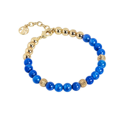 Bracelet with pearls of Blue Agate