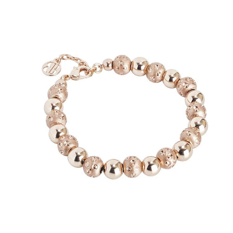 Bracelet rosato with shiny spheres and setate