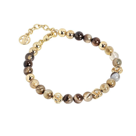 Bracelet with Swarovski and agata mix brown