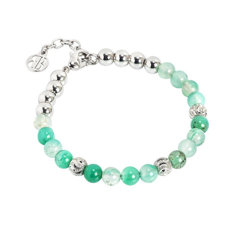 Bracelet with pearls of agate mix green