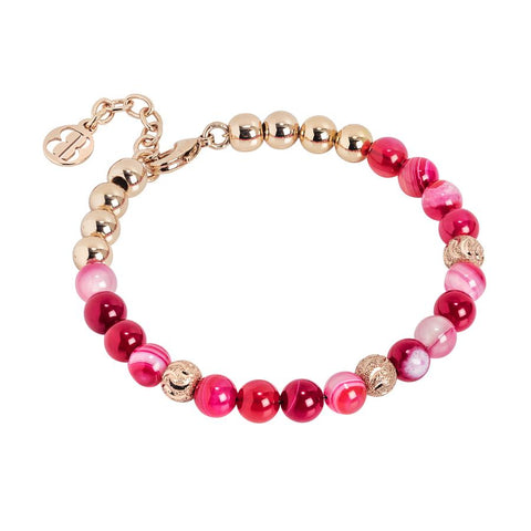 Bracelet with pearls of agata fuchsia