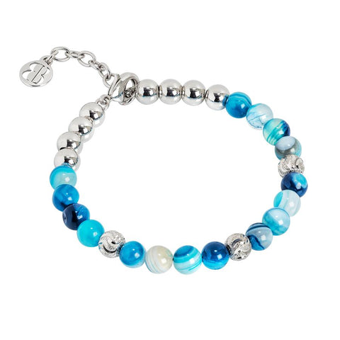 Bracelet with pearls of agate blue mix