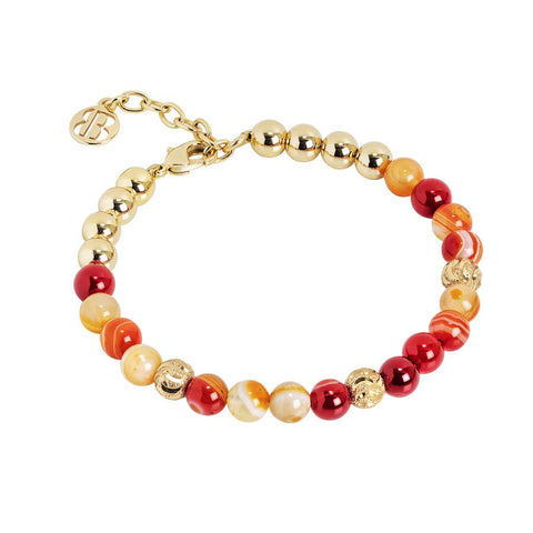 Bracelet with pearls of agata orange