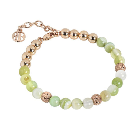 Bracelet with pearls of agata light yellow