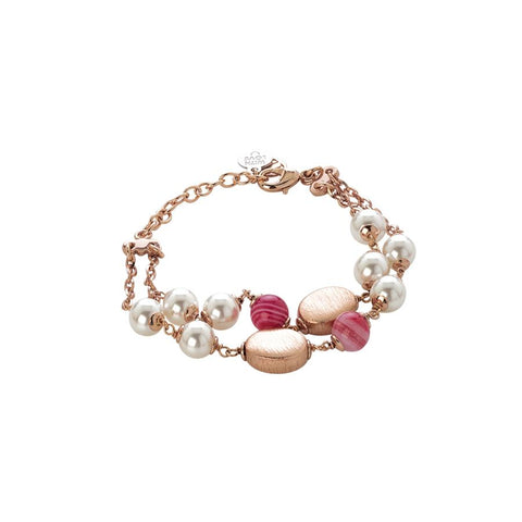 Bracelet double thread with Swarovski beads white and agata fuchsia