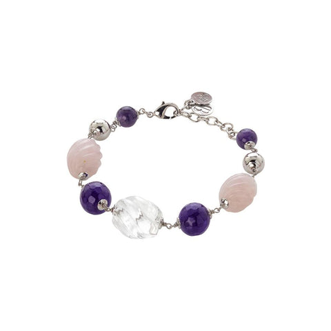 Bracelet  with amethyst, pink quartz torchon and rock crystal