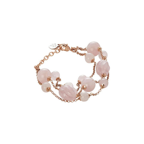 Bracelet  with pink quartz and rose quartz torchon