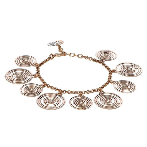 Plated Bracelet pink gold with concentric charms and Swarovski