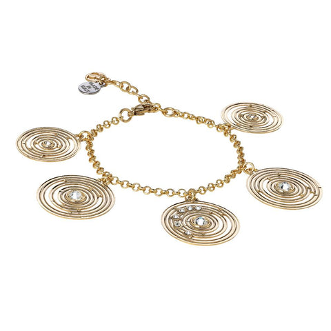 Plated Bracelet Yellow Gold Pendant with concentric and Swarovski