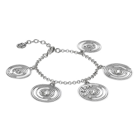 Bracelet rodiatos with pendant concentric and Swarovski