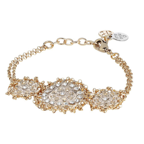 Related product : Plated Bracelet yellow gold with central decoration in bas-relief and Swarovski