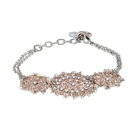 Related product : Bracelet bicolor with central decoration in bas-relief and Swarovski