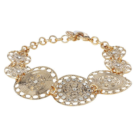 The semirigid Bracelet Gold Plated yellow with decoration in relief and Swarovski