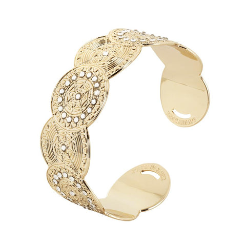 Bracelet band Gold Plated yellow with decoration in relief and Swarovski