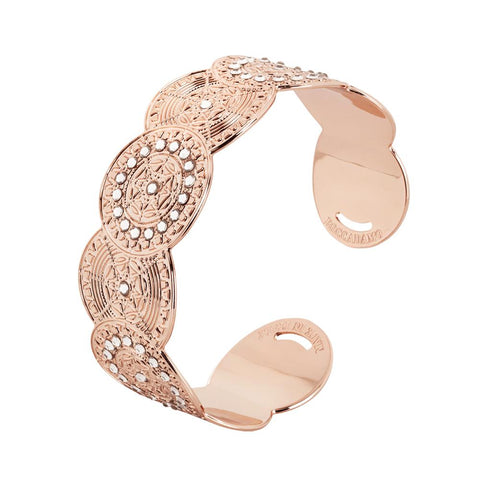 Related product : Bracelet band gold plated pink with decoration in relief and Swarovski