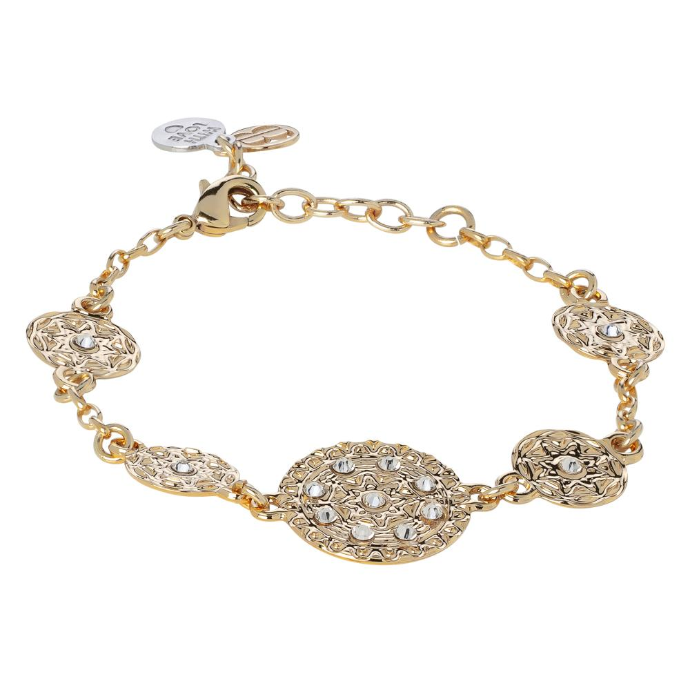 Plated Bracelet yellow gold with modules in bas-relief and Swarovski