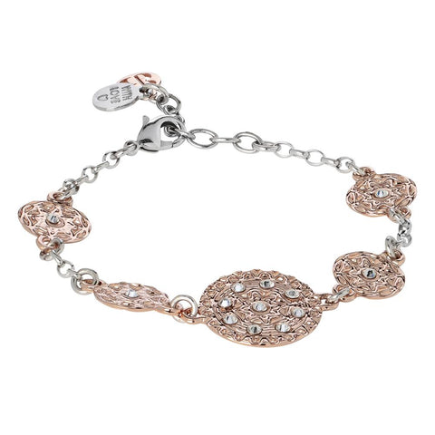 Related product : Bracelet bicolor with modules in bas-relief and Swarovski