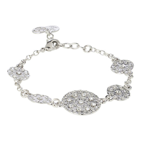 Related product : Bracelet rodiatos with modules in bas-relief and Swarovski