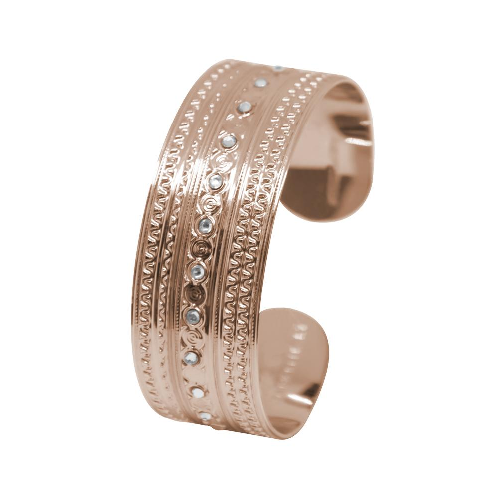 Plated Bracelet pink gold with decorations of the Etruscans and Swarovski
