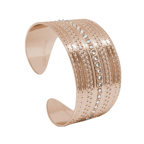 Plated Bracelet pink gold with wide band with decorations of the Etruscans and Swarovski