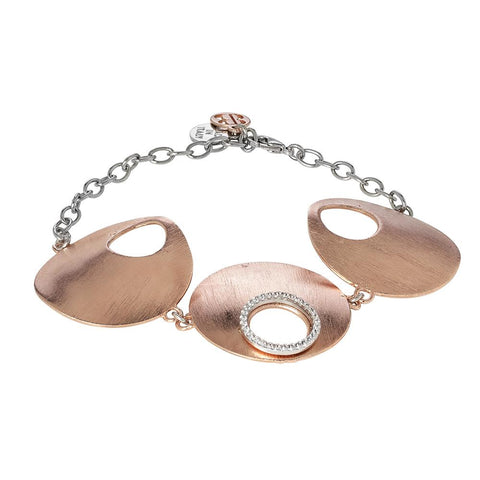 Plated Bracelet pink gold with central semirigid and zircons