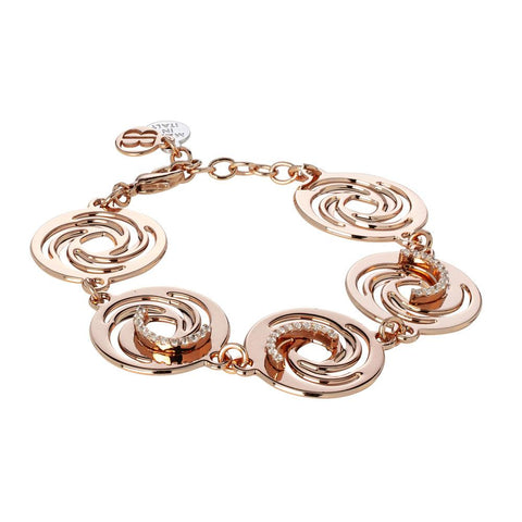 Related product : The semirigid cuff gold plated pink with decorations of vortex and zircons