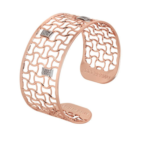 Bracelet band gold plated pink with scallops zircons
