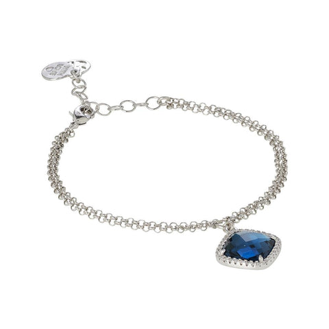Related product : Bracelet with briolette crystal blue montana and zircons