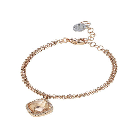 Related product : Bracelet with crystal briolette peach and zircons