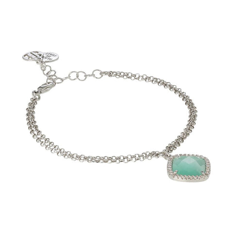 Related product : Bracelet with crystal briolette green mint and zircons