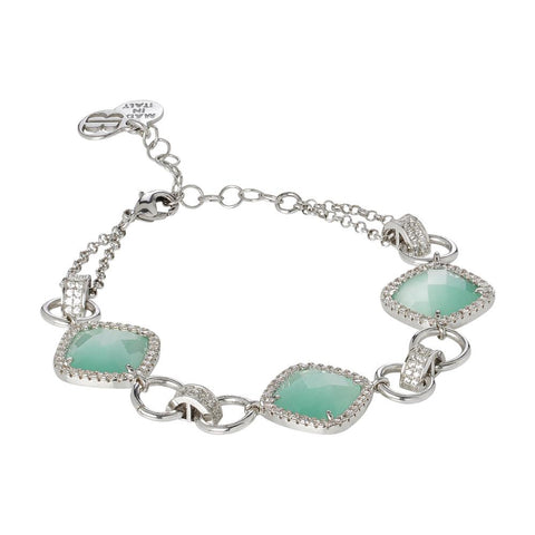 Related product : Modular Bracelet with crystals green mint and zircons