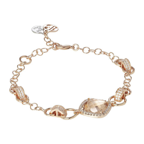 Related product : Bracelet with central briolette peach and zircons