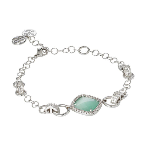 Related product : Bracelet with briolette central green mint and zircons