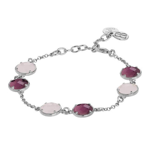 Bracelet with pink quartz milk and amethyst