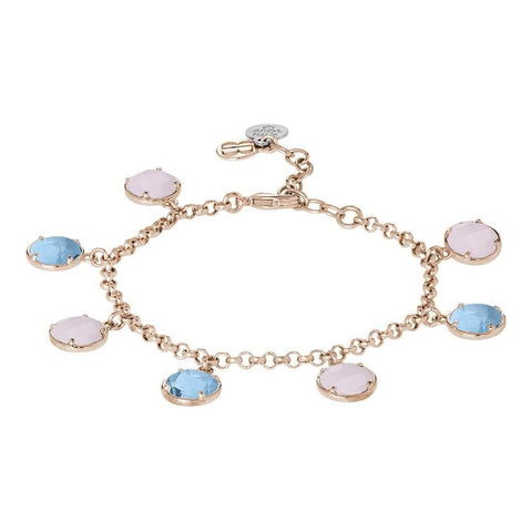 Bracelet with crystals sky and pink quartz milk