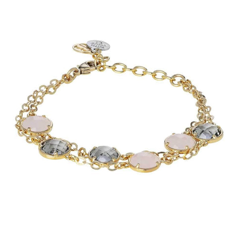 Bracelet double wire with crystals fumè and rose quartz milk