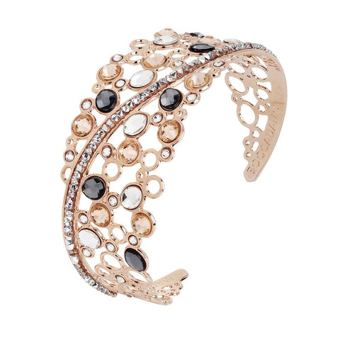 Related product : Rigid bracelet with decoration of Swarovski crystal, peach and silver night