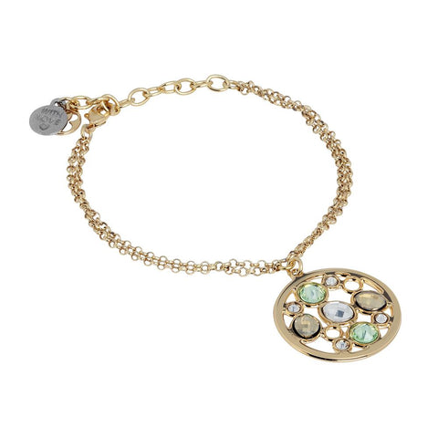 Related product : Bracelet double wire plated yellow gold   with central in Swarovski