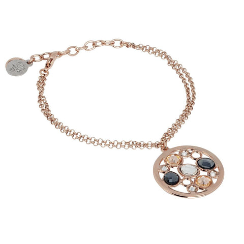 Related product : Double Bracelet plated wire pink gold with central in Swarovski
