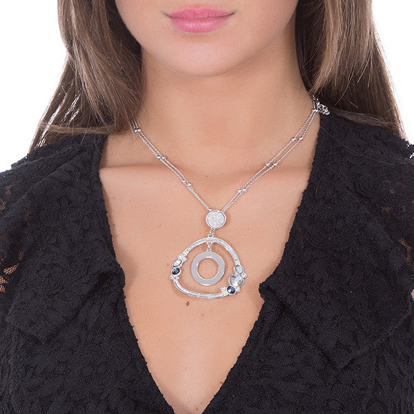 Necklace Pendant with concentric and Swarovski