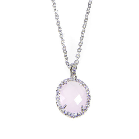 Necklace with crystal pendant briolette pink and zircons