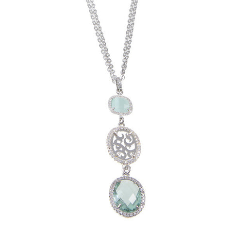 Necklace with a pendant from reason arabesque, zircons and crystals colored briolette